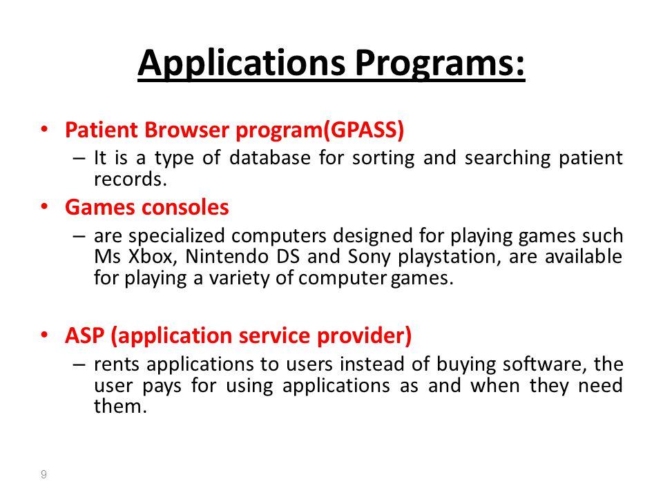 Applications Programs: