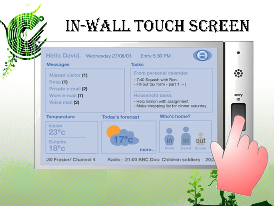 In-Wall Touch screen An Internet of Things Winter 2008