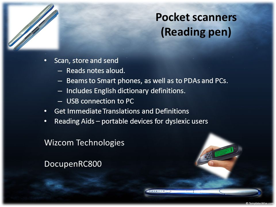 Pocket scanners (Reading pen)