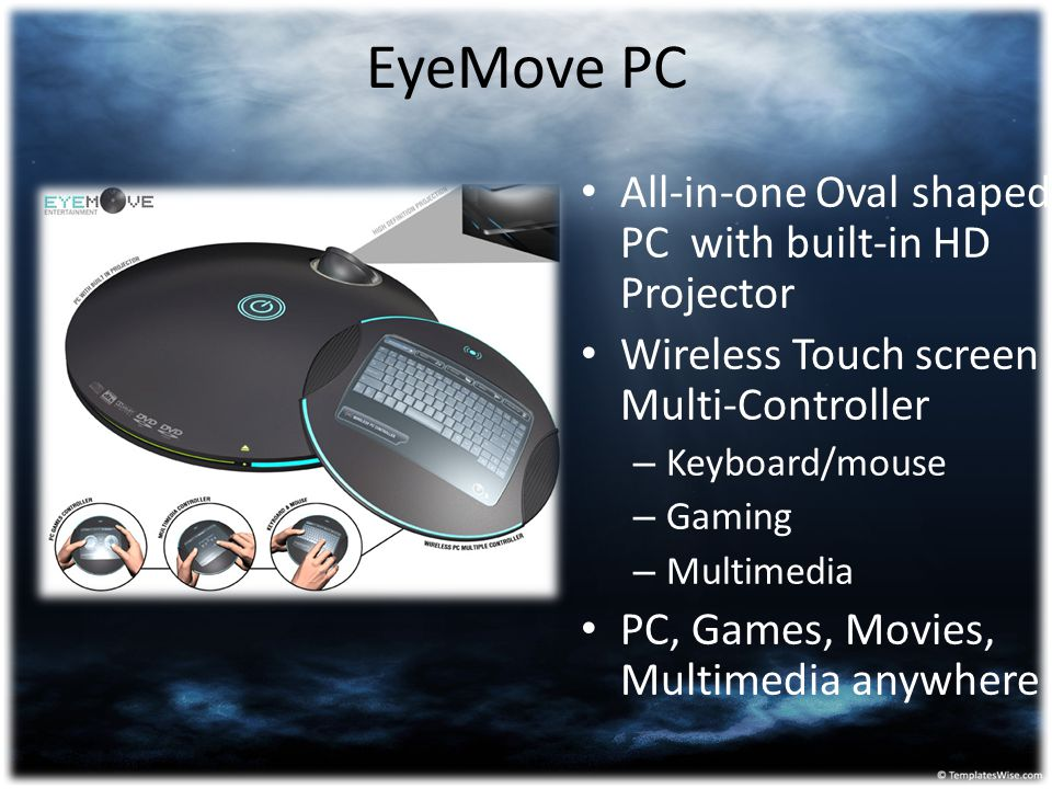 EyeMove PC All-in-one Oval shaped PC with built-in HD Projector