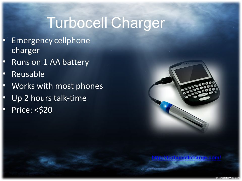 Turbocell Charger Emergency cellphone charger Runs on 1 AA battery