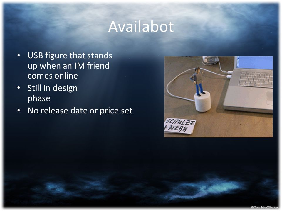 Availabot USB figure that stands up when an IM friend comes online