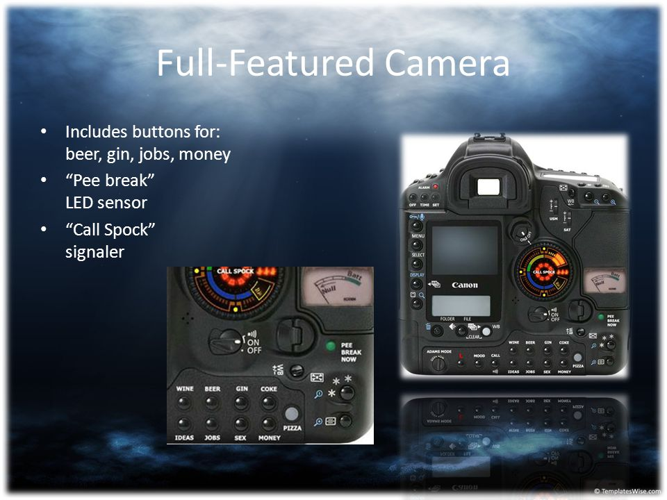 Full-Featured Camera Includes buttons for: beer, gin, jobs, money
