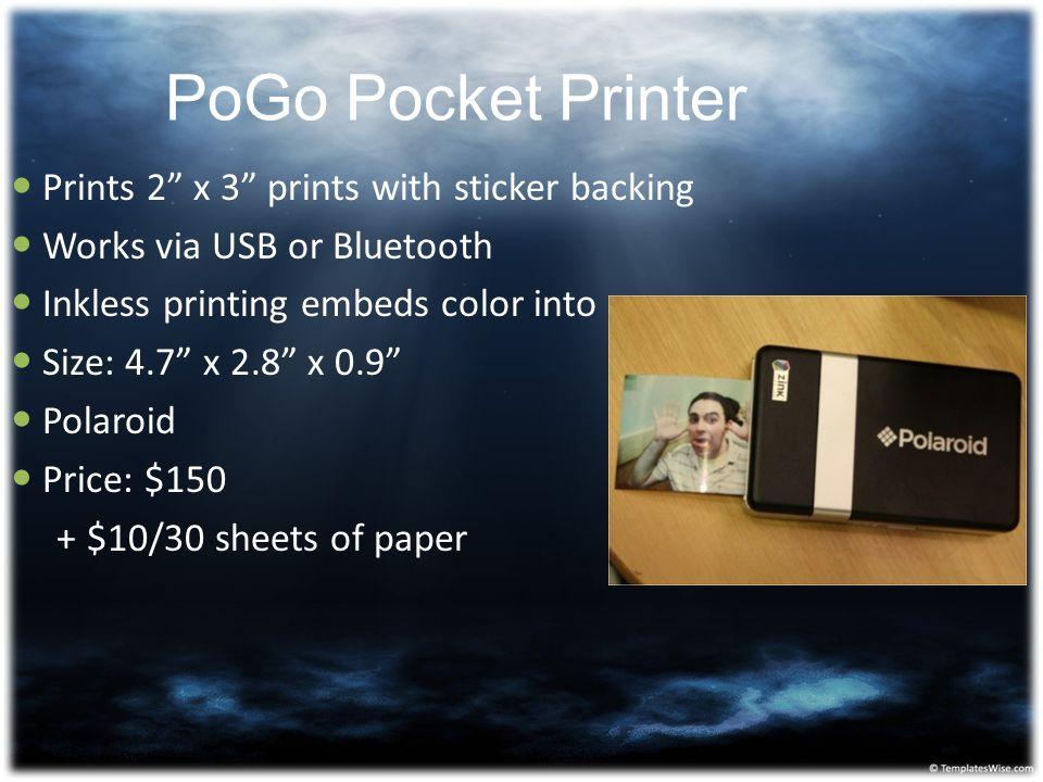 PoGo Pocket Printer Prints 2 x 3 prints with sticker backing