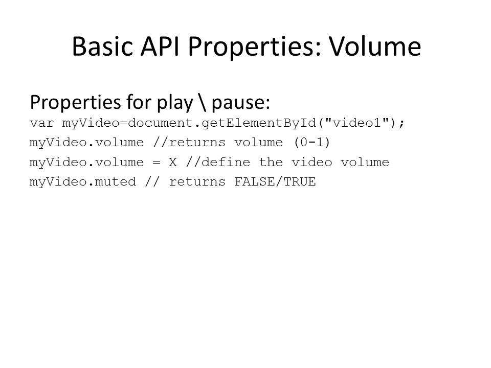 Basic API Properties: Volume