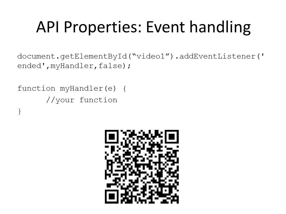 API Properties: Event handling