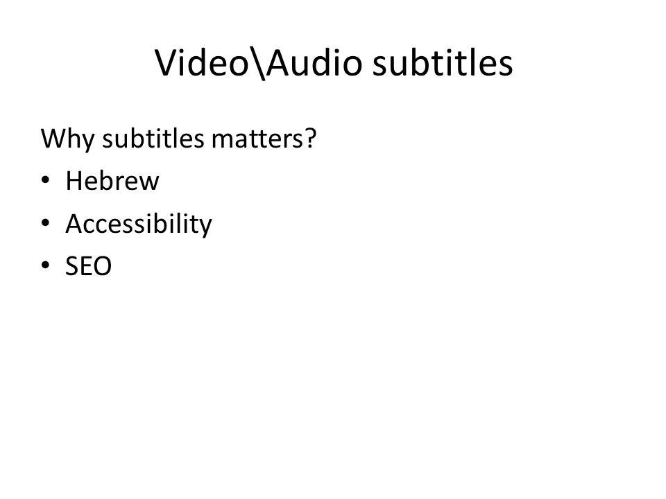 Video\Audio subtitles