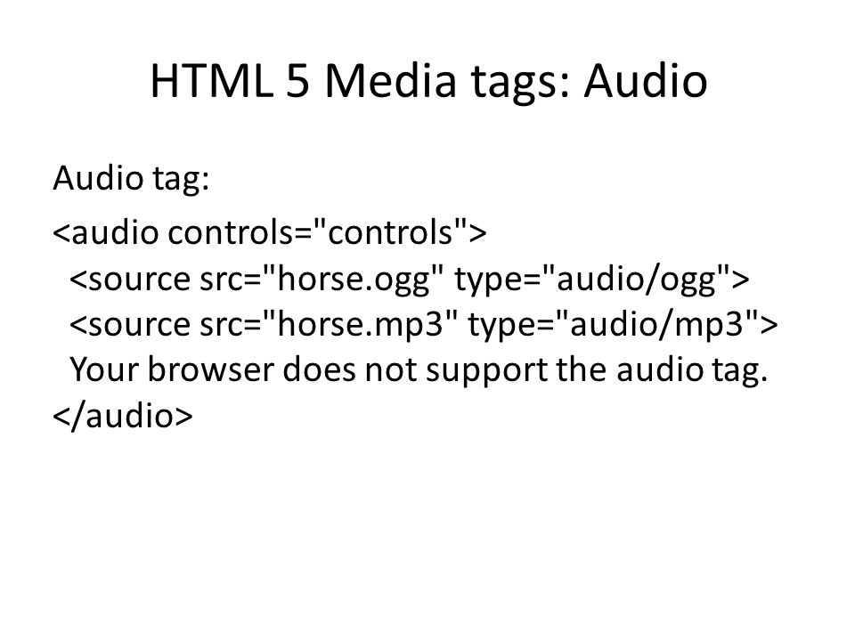 HTML 5 Media tags: Audio