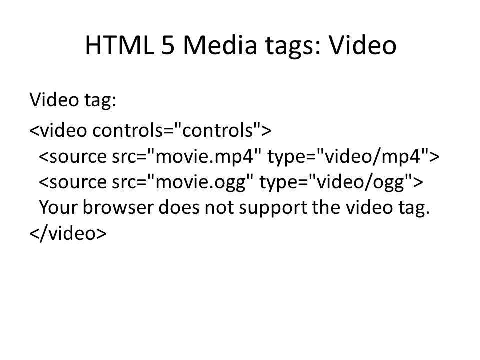 HTML 5 Media tags: Video
