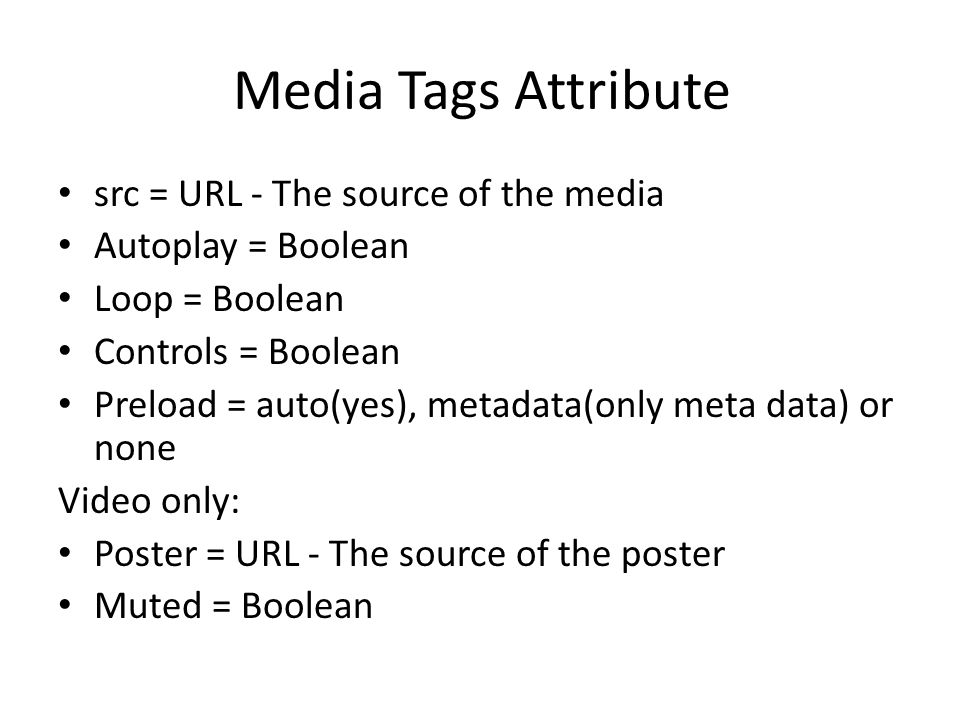 Media Tags Attribute src = URL - The source of the media