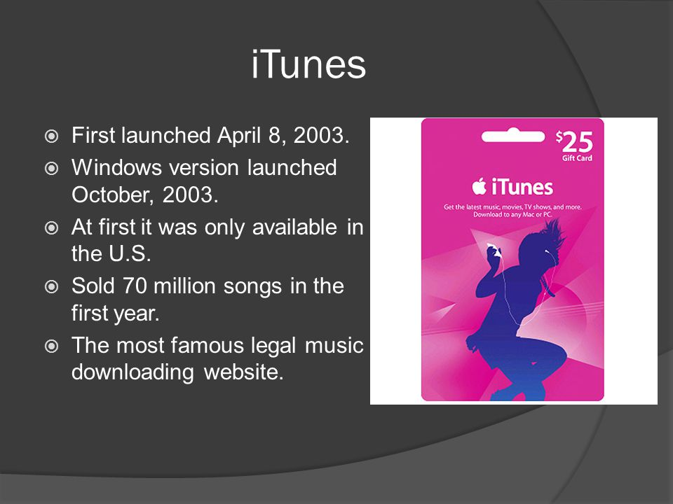 iTunes First launched April 8, 2003.