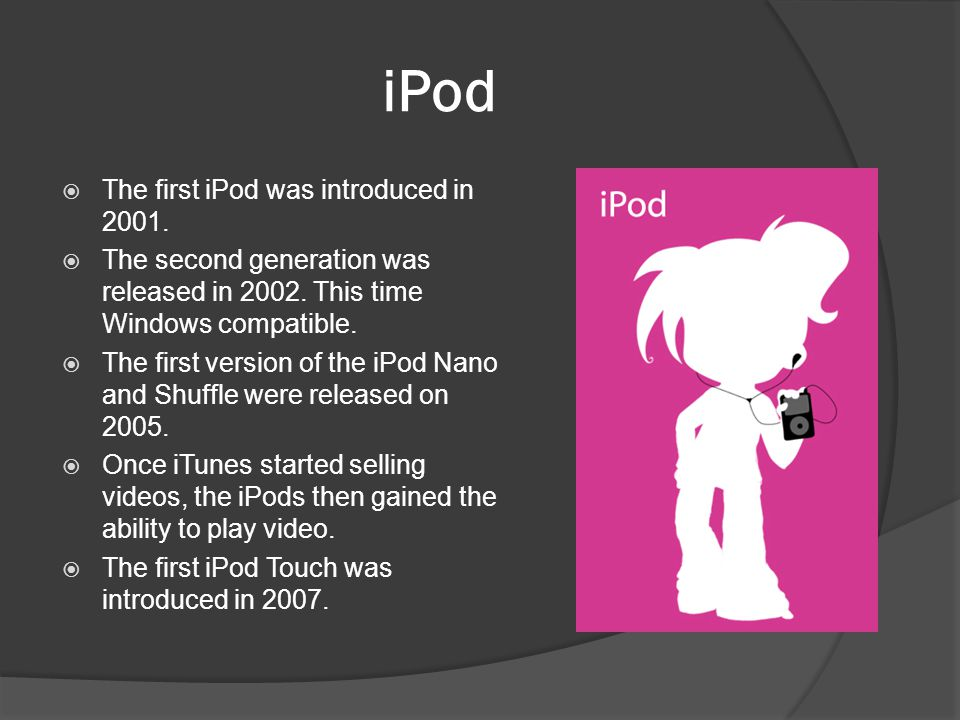 iPod The first iPod was introduced in 2001.