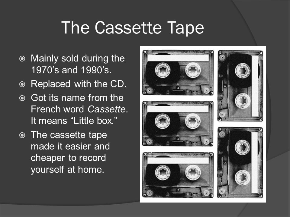 The Cassette Tape Mainly sold during the 1970's and 1990's.