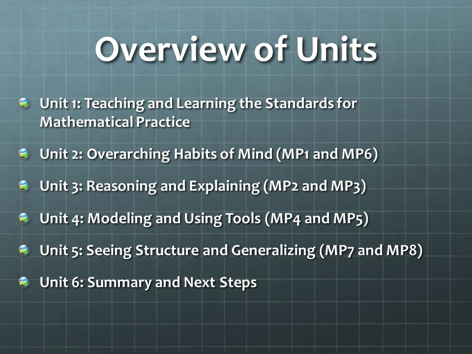 Overview of Units Unit 1: Teaching and Learning the Standards for Mathematical Practice. Unit 2: Overarching Habits of Mind (MP1 and MP6)
