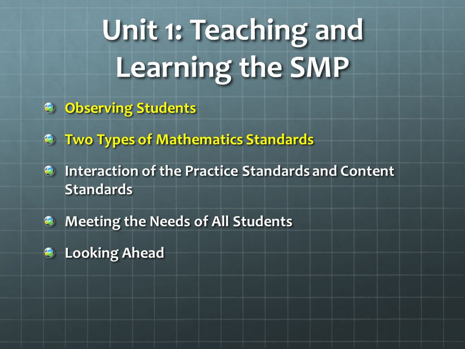 Unit 1: Teaching and Learning the SMP