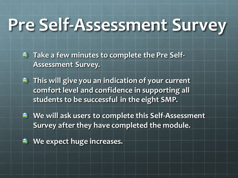 Pre Self-Assessment Survey