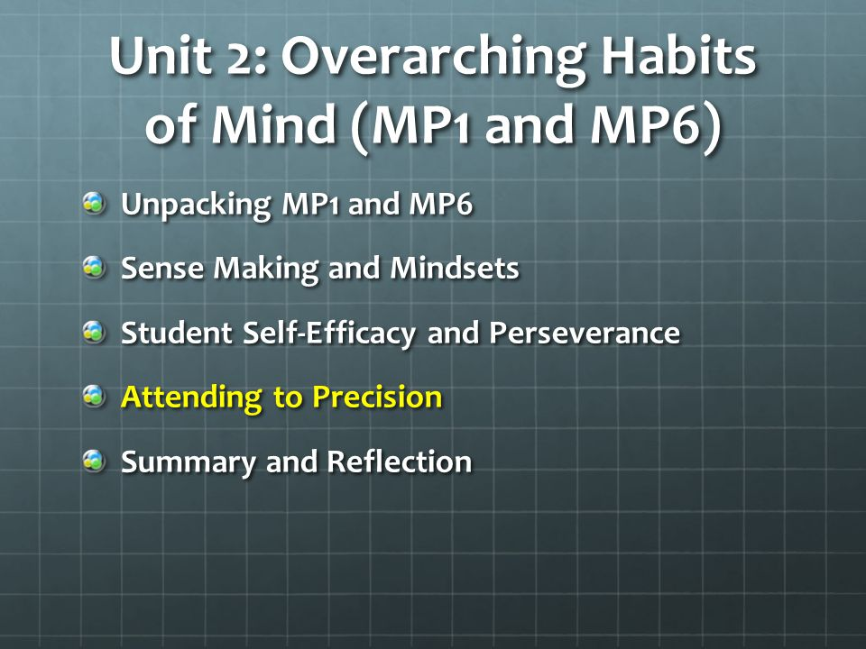 Unit 2: Overarching Habits of Mind (MP1 and MP6)