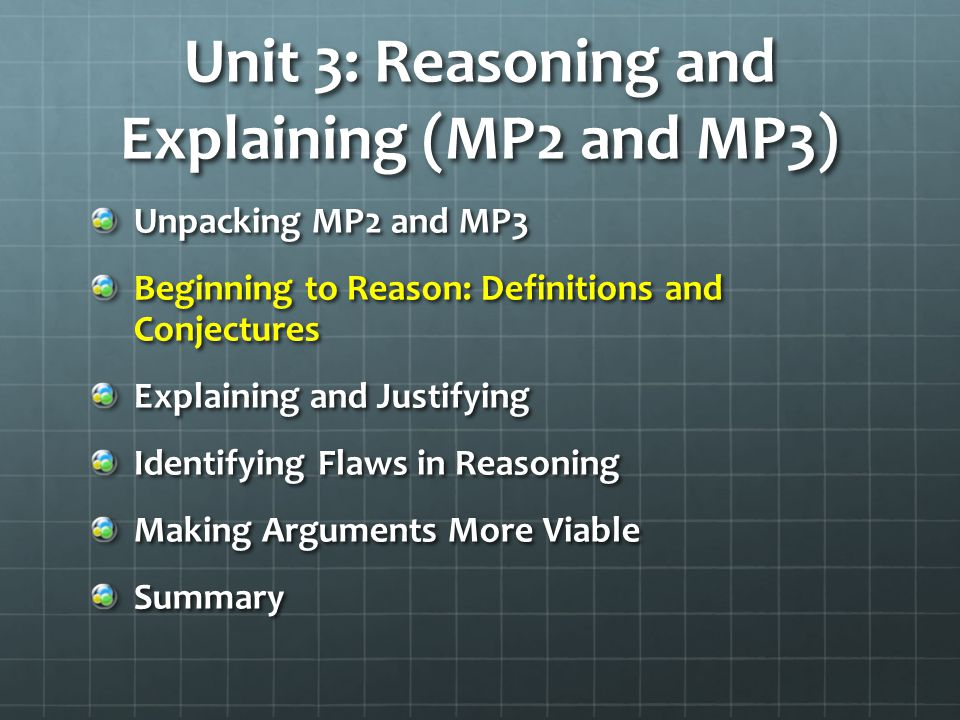 Unit 3: Reasoning and Explaining (MP2 and MP3)
