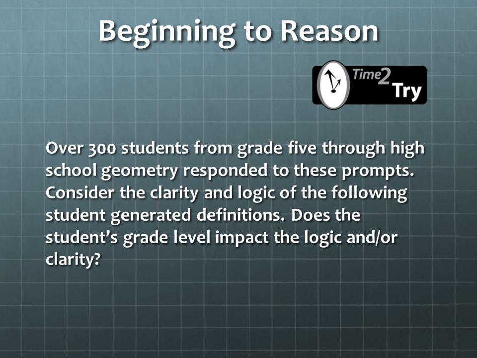 Beginning to Reason
