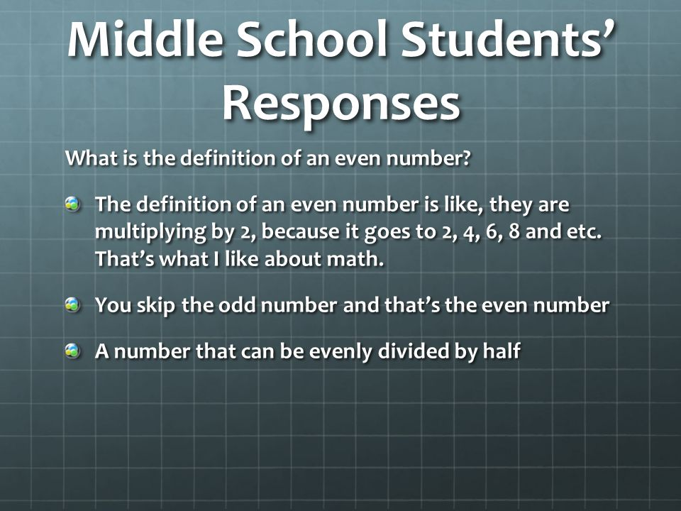 Middle School Students' Responses