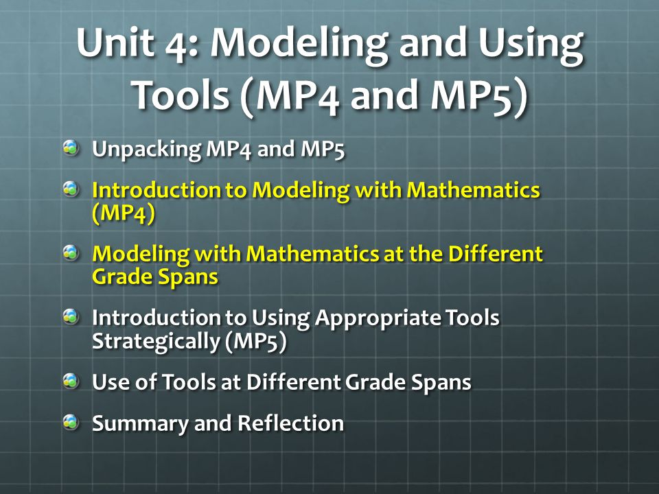 Unit 4: Modeling and Using Tools (MP4 and MP5)