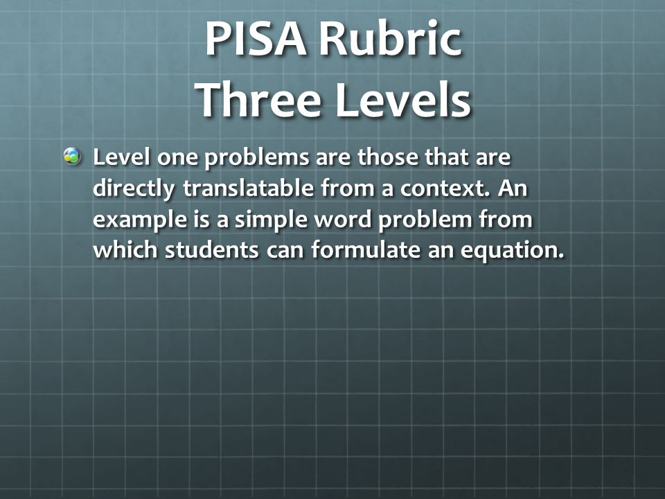 PISA Rubric Three Levels