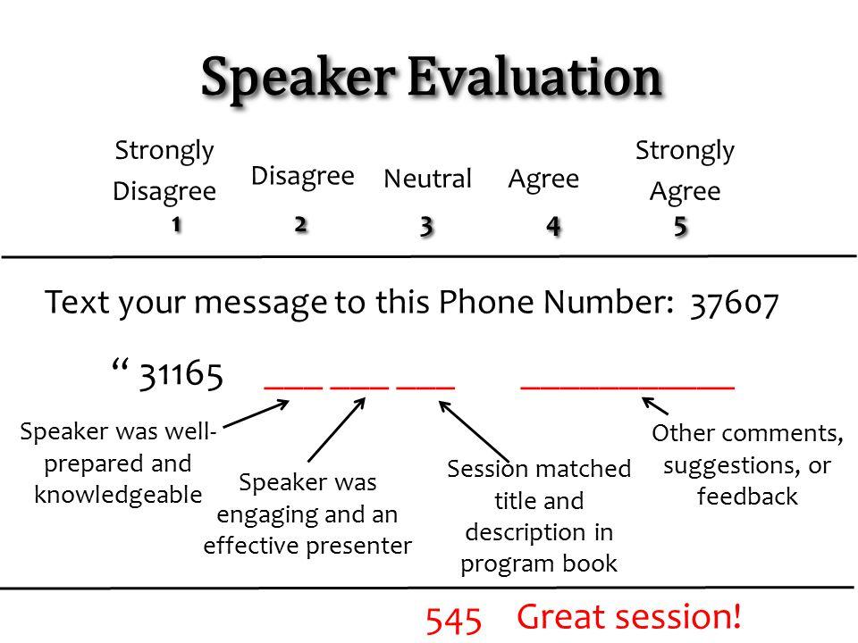 Speaker Evaluation ___ ___ ___ ___________ 31165
