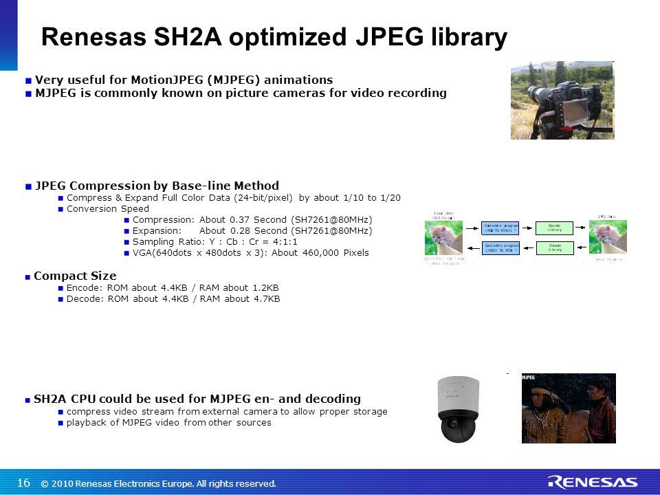Renesas SH2A optimized JPEG library
