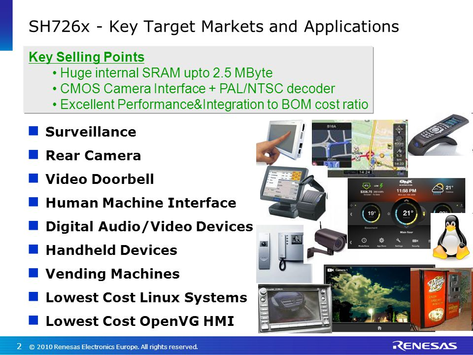 SH726x - Key Target Markets and Applications