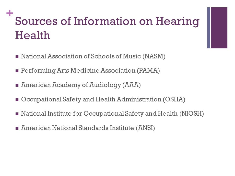 Sources of Information on Hearing Health