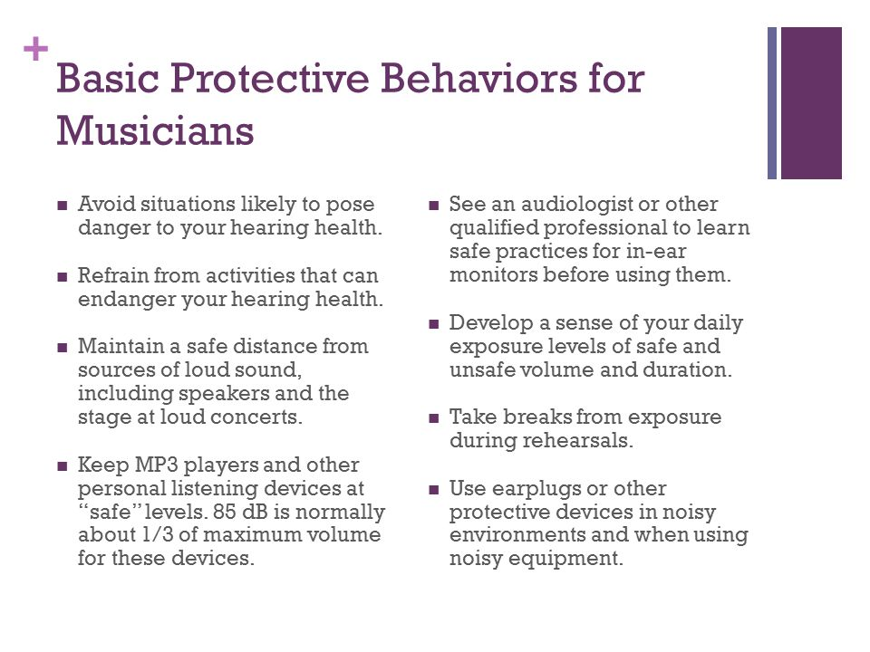 Basic Protective Behaviors for Musicians