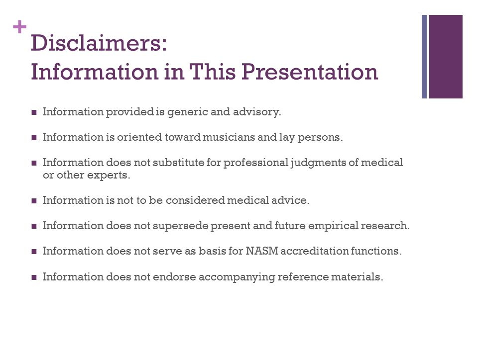 Disclaimers: Information in This Presentation