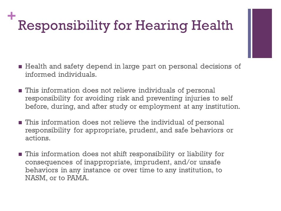 Responsibility for Hearing Health