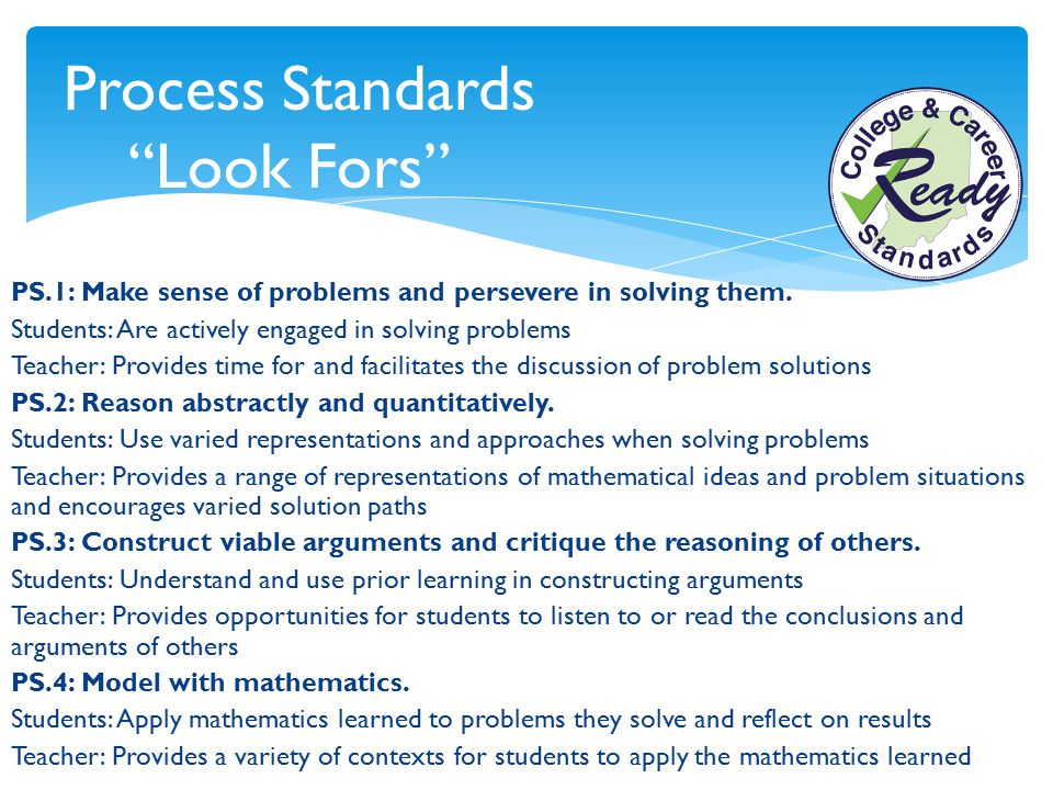 Process Standards Look Fors