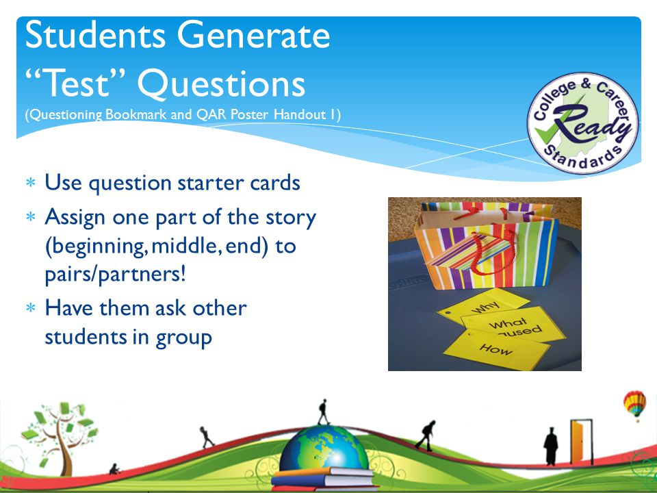 Students Generate Test Questions (Questioning Bookmark and QAR Poster Handout 1)