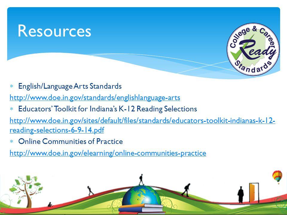 Resources English/Language Arts Standards