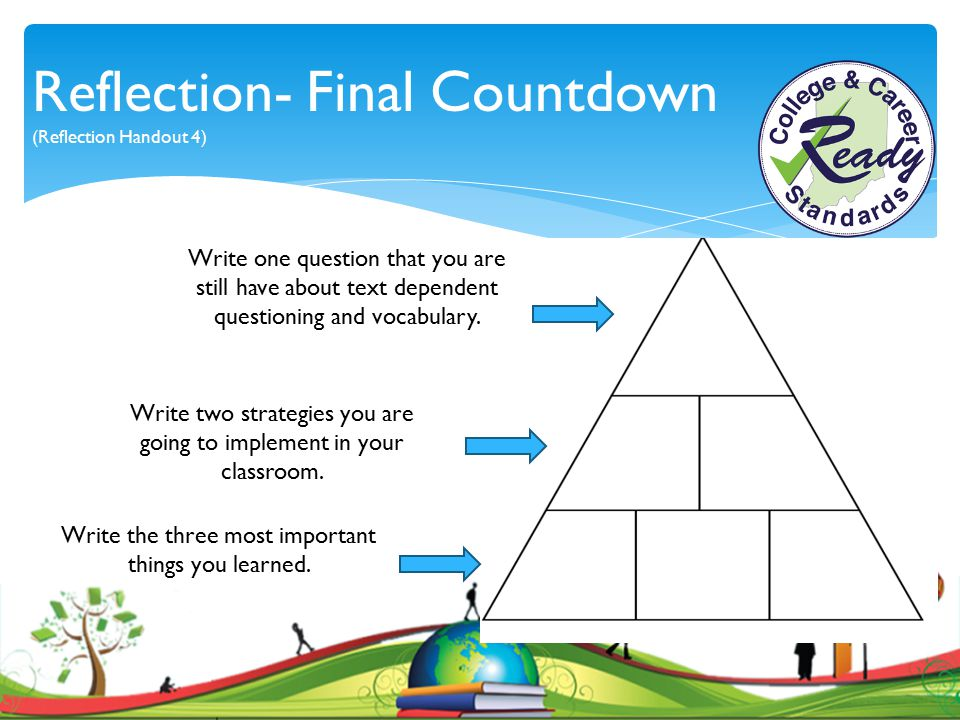 Reflection- Final Countdown (Reflection Handout 4)