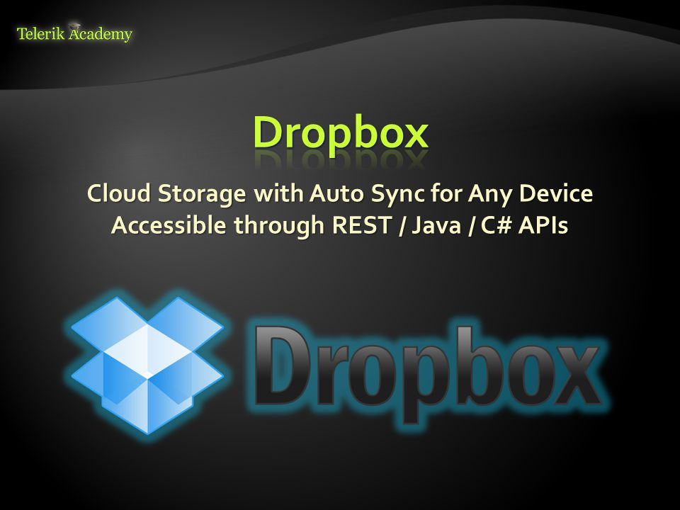 Dropbox Cloud Storage with Auto Sync for Any Device Accessible through REST / Java / C# APIs