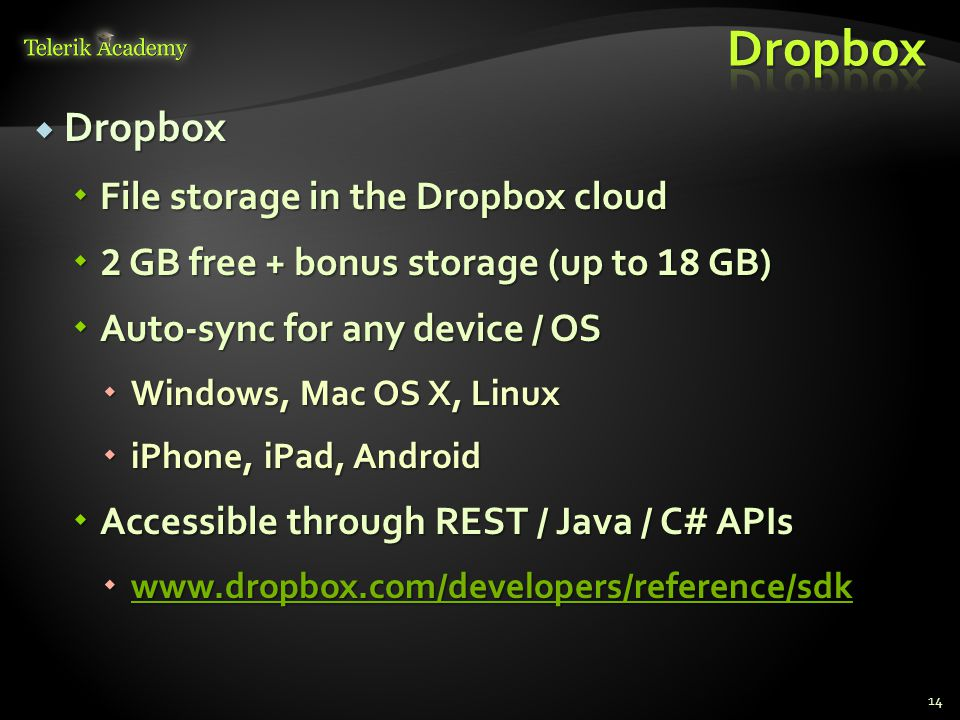 Dropbox Dropbox File storage in the Dropbox cloud