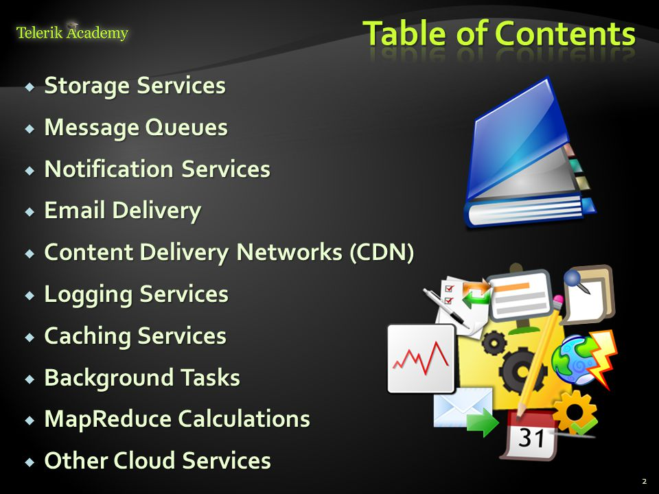 Table of Contents Storage Services Message Queues