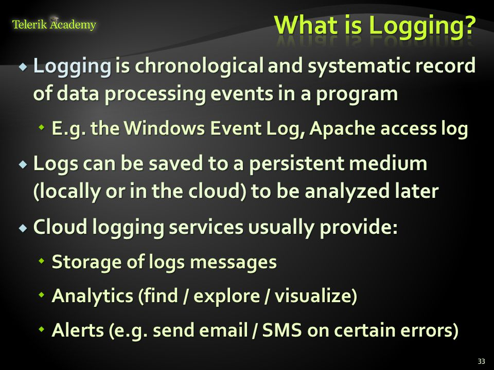 What is Logging Logging is chronological and systematic record of data processing events in a program.