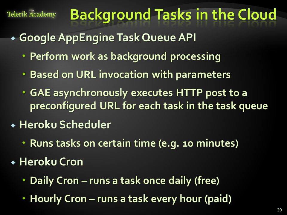 Background Tasks in the Cloud
