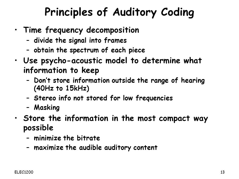 Principles of Auditory Coding