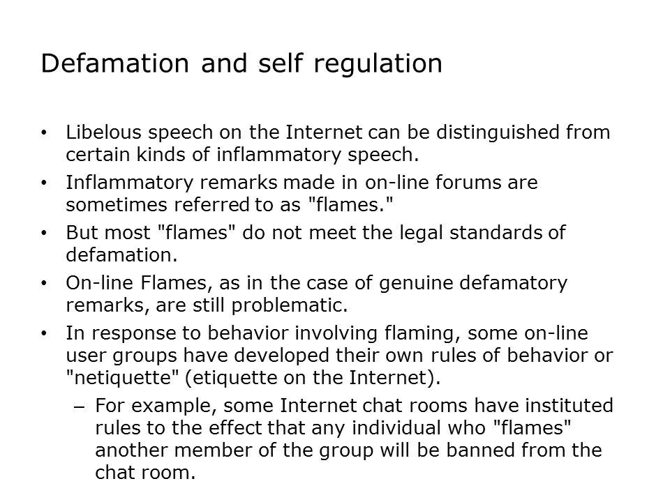 Defamation and self regulation