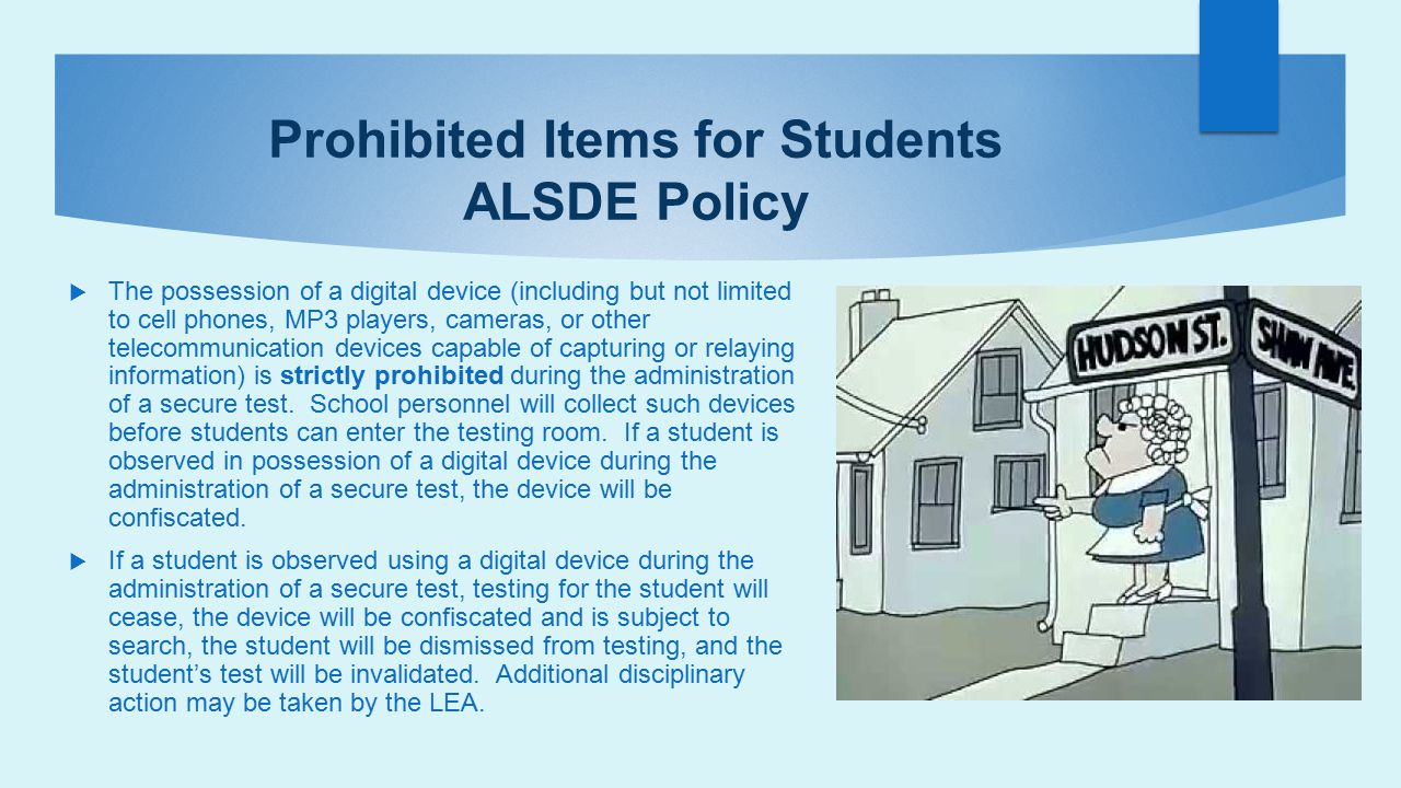 Prohibited Items for Students ALSDE Policy