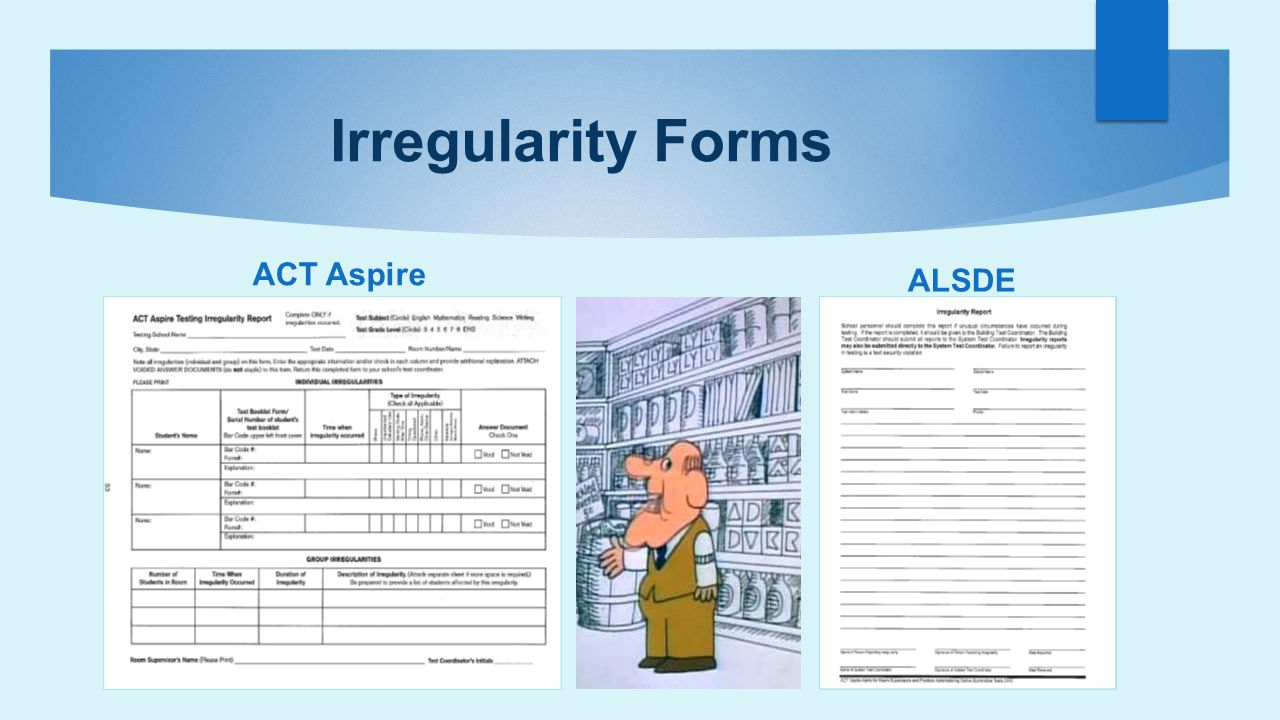 Irregularity Forms ACT Aspire ALSDE