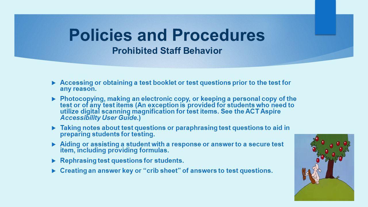 Policies and Procedures Prohibited Staff Behavior