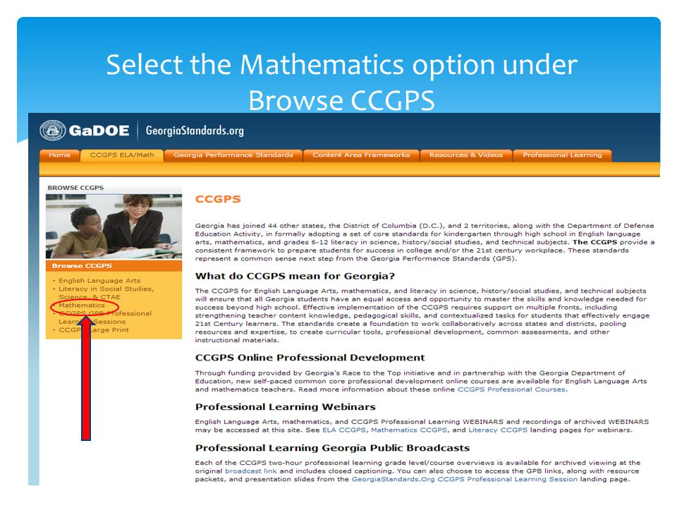 Select the Mathematics option under Browse CCGPS