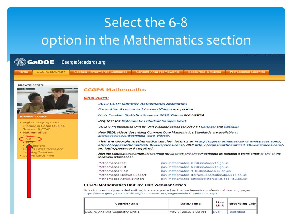 Select the 6-8 option in the Mathematics section