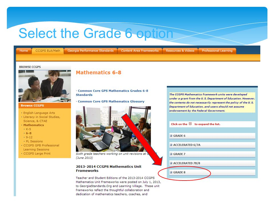Select the Grade 6 option